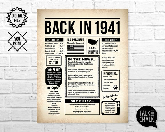 80 Years Ago 80th Birthday Born in Britain 1941 Back in 1941 Birthday Party British Newspaper Style Poster Printable JPG Instant Download