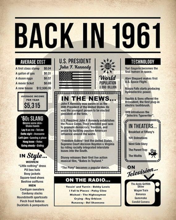 Back in 1961 Newspaper Poster PRINTABLE 1961 PRINTABLE   Etsy