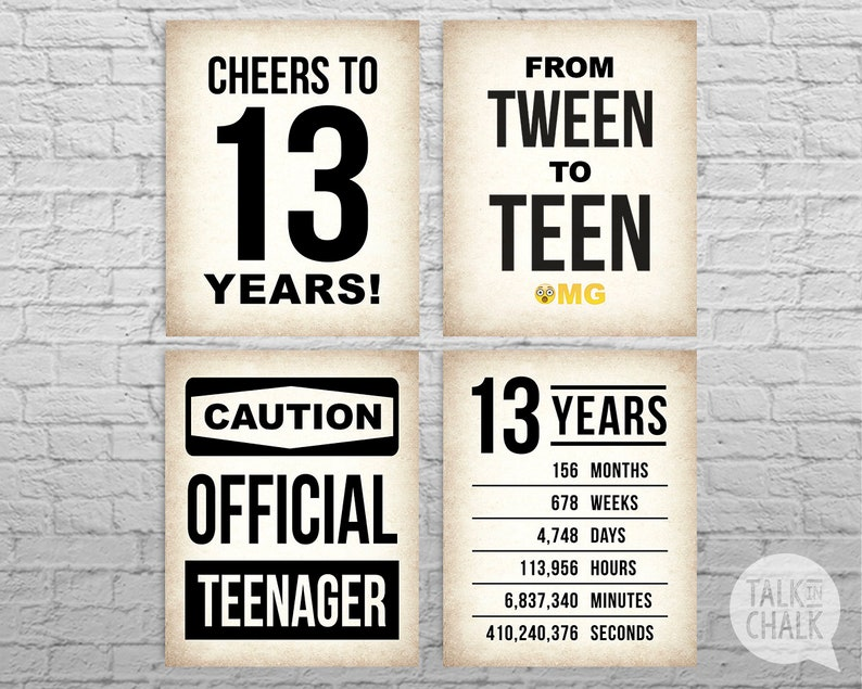 graphic about Printable Signs named 13th Birthday PRINTABLE Indicators 13th Birthday Get together Decorations Cheers toward 13 Many years PRINTABLE Poster Formal Teen Indication