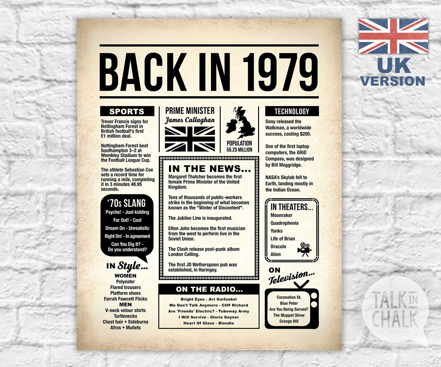 photograph relating to Free Printable Birthday Newspaper identified as Again Within just 1979 United Kingdom Printable Newspaper Poster 40th Birthday Printable Indicator United kingdom Birthday Celebration Decorations