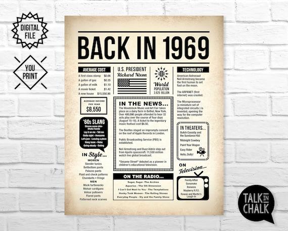 Custom PRINTABLE 16x20\u201d 1969 Flashback Sign Birthday Anniversary Reunion Back in 1969 Poster Any Celebration