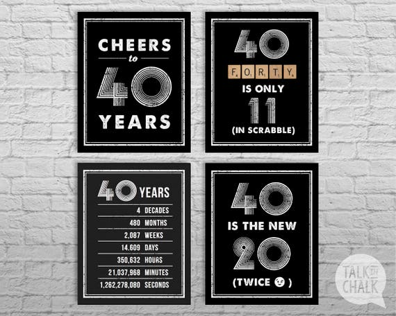 40th Birthday Sign Pack DIGITAL Posters Cheers