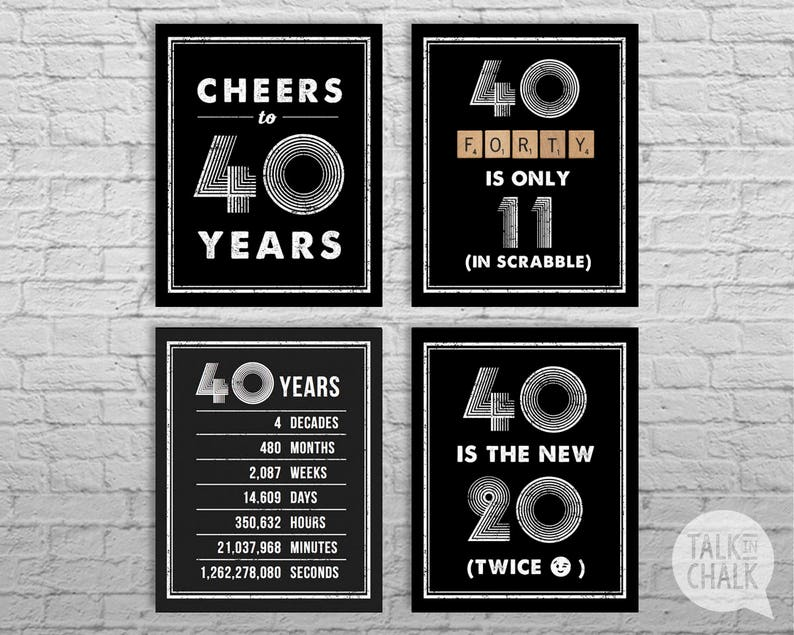 photo about 40th Birthday Signs Printable called 40th Birthday PRINTABLE Posters 40th Birthday Indication Pack - Electronic Documents  40th Birthday Decorations Cheers towards 40 Yrs