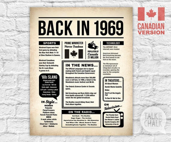 Back In 1969 CANADA Printable Newspaper Poster 50th
