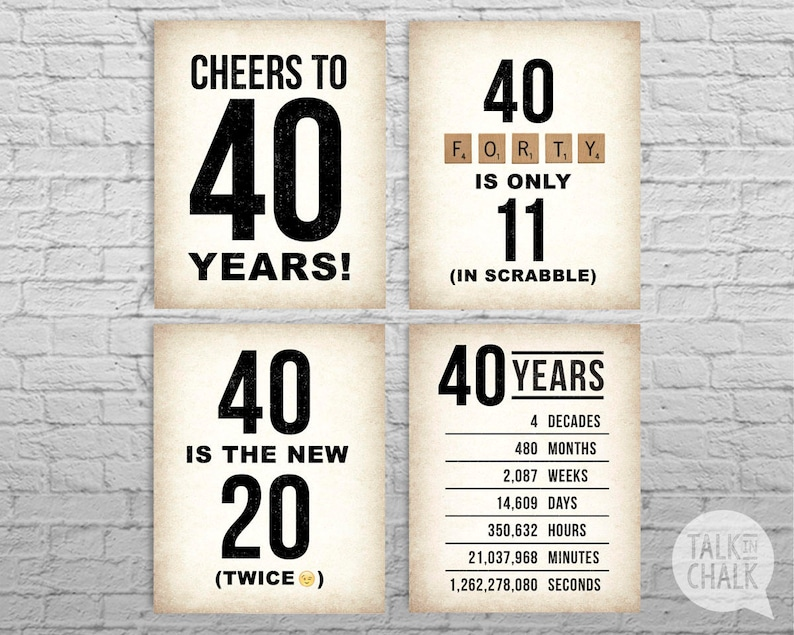 graphic relating to 40th Birthday Signs Printable identified as 40th Birthday PRINTABLE Signs or symptoms 40th Birthday Electronic Posters 40th Birthday Social gathering Decorations 1979 Birthday Poster