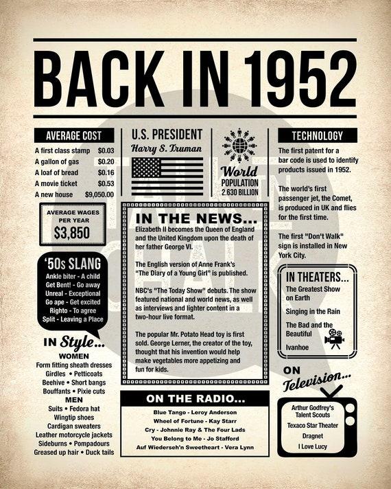 Back In 1952 Newspaper Poster PRINTABLE 1952 PRINTABLE   Etsy