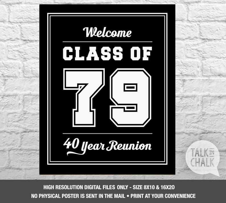 Class Of 1979 Printable Welcome Sign Class Of 79 Digital