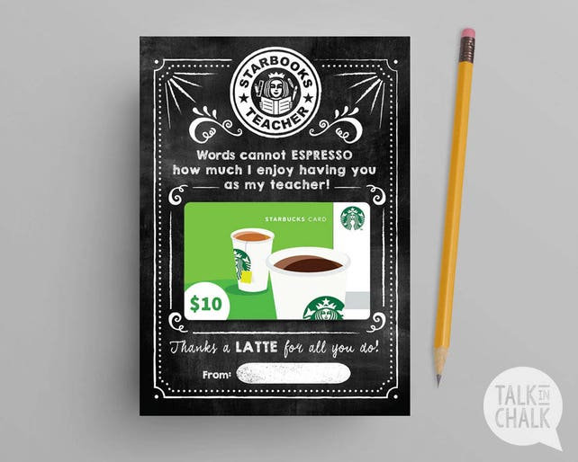 Teacher Appreciation Starbucks PRINTABLE Gift Card Holder