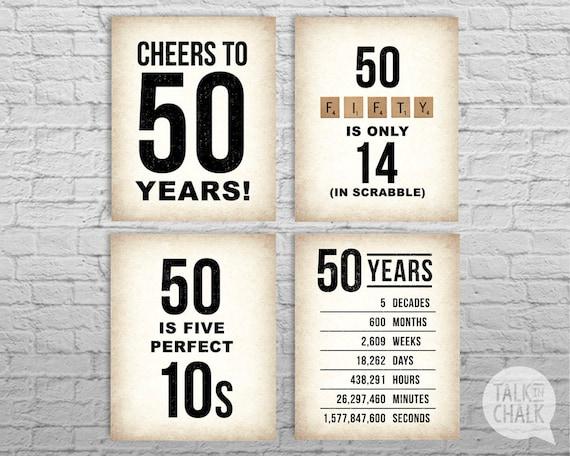 50th Birthday Printable Sign Pack 50th Birthday Digital Etsy