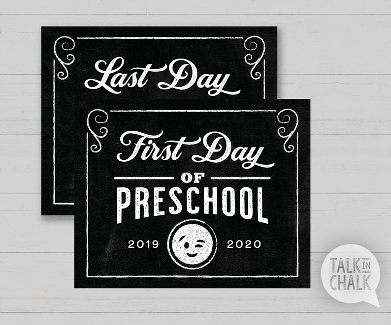 photo relating to Printable Chalkboard Signs called Very first Working day of Preschool PRINTABLE Chalkboard Indication Back again in the direction of University PRINTABLE Chalkboard Poster Remaining Working day of Preschool Indication Instantaneous Obtain