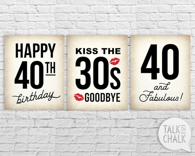 40th Birthday PRINTABLE Sign Pack 40 And Fabulous Kissing