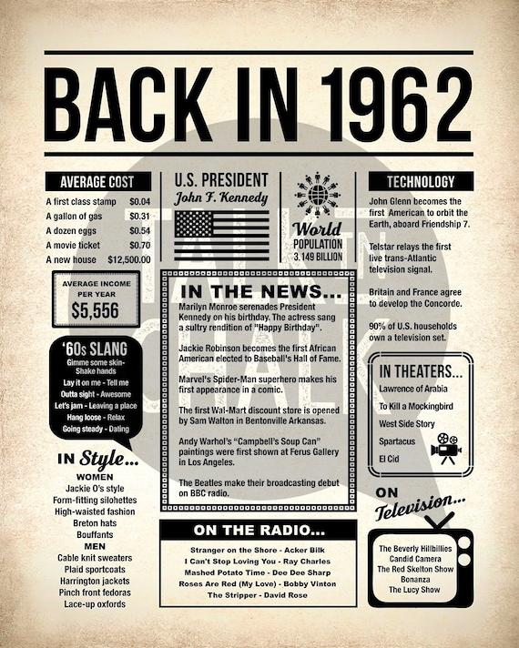Back In 1962 Newspaper Poster PRINTABLE 1962 PRINTABLE | Etsy