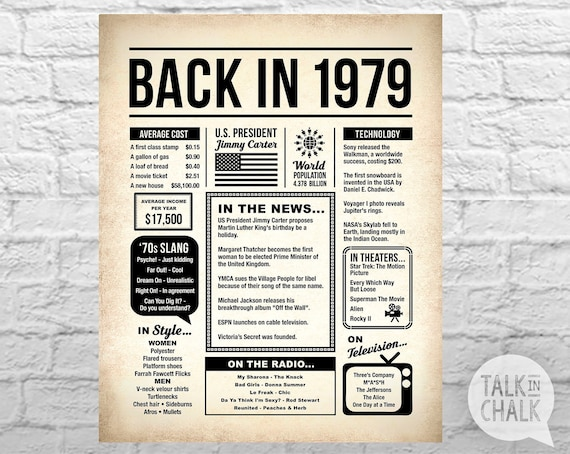 40 Best Images About Nier On Pinterest: Back In 1979 PRINTABLE Newspaper Poster 40th Birthday
