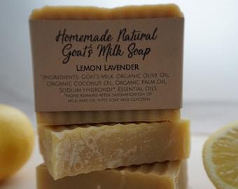 Homemade Natural Goat's Milk Soap Lemon Lavender