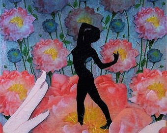 Blossoming - original mixed media collage painting flowers hands silhouette