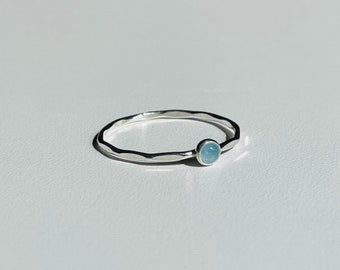 Aquamarine ring / Stacking, Dainty Ring / Minimalist, Simple Ring / Sterling Silver and Gold Filled Ring / 14k Gold Ring.