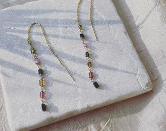 ABRIL Threaders / Gold Threaders Earrings / Long Chain Earrings / Sterling Silver Earrings / Tourmaline Threaders.