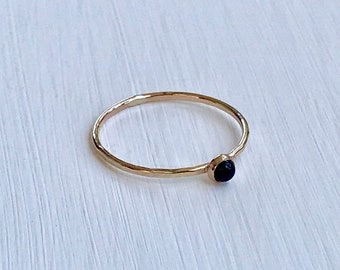 Onyx Ring, Sterling Silver Ring, Gold Ring, Stacking Ring, Ring, Elegant, Dainty, Minimalist, Simple Ring, Natural Onyx.