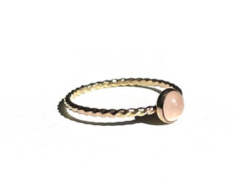 Rose Quartz Ring, Natural Rose Quart, Stacking Ring, Dainty Ring, Minimalist Ring, Simple Ring, Sterling Silver Ring, Gold Filled Ring.