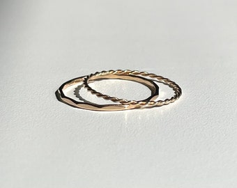 14k Gold Ring / Stacking Solid Gold Ring / Minimalist, dainty, simple handmade ring / Recycled Gold / Eco Sustainable Jewelry / Gift for her