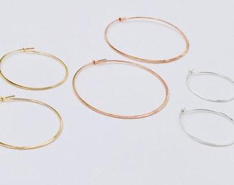 Constanza Hoops, Handcrafted Hammered Hoops, Everyday Hoops, Dainty Earrings, Boho Earrings, Gold Filled Hoops, Sterling Silver Hoops.