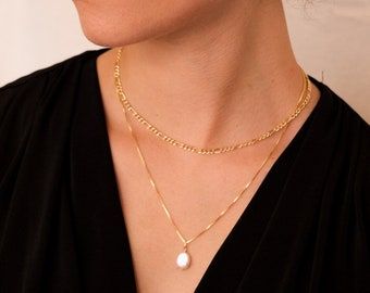 Oval Pearl Necklace / Gold fill necklace/ Sterling Silver Necklace/ Freshwater Pearl Necklace/ Box Chain/ Natural Pearl jewelry