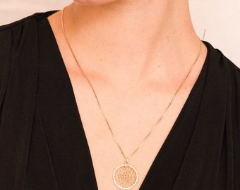 Medallón Crochet, Crochet Medallion, Circle Pendant, Gold Filled Pendant, Sterling Silver Pendant, Circle Necklace.