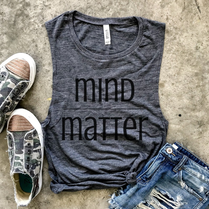 0069fbeb12 Mind Over Matter Gray Slub Muscle Tank funny workout tank | Etsy