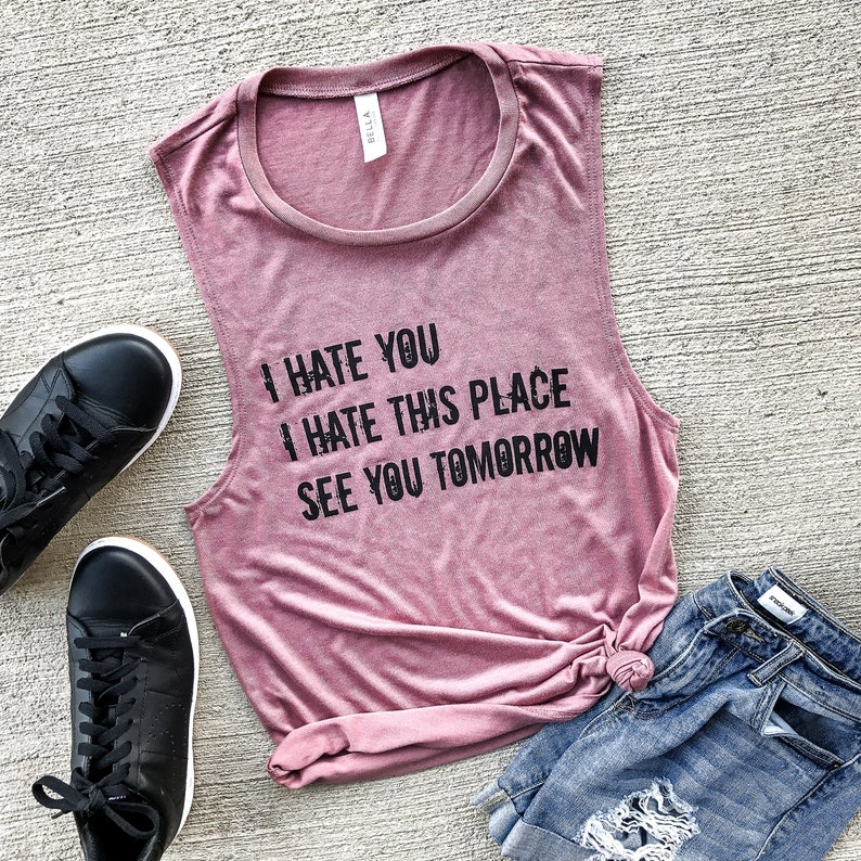 8f20d2bcf I Hate This Place Mauve Muscle Tank workout tank gym shirt   Etsy