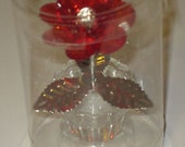 Figurine Lucite Red Flower in Pot 3 quot Faceted Petals