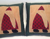 Throw Pillow Set 2 Folk Art Santa Claus Christmas Hand Crafted 6.5x7.5