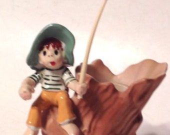 Enesco Candleholder Boy Fishing Sitting On Tree Stump Vintage Porcelain