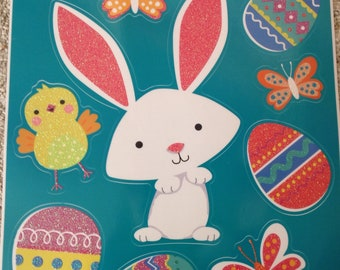 New Static Window Clings 9  Easter Bunny Eggs & Chicks Glittery