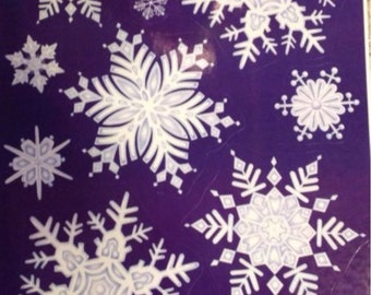 Static Window Clings Christmas Winter Snowflakes Vinyl New