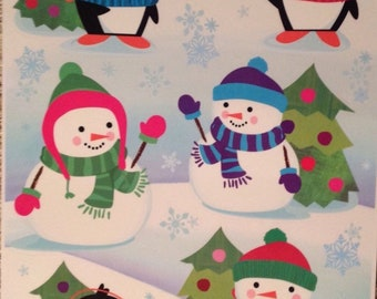 Static Window Clings Christmas Winter Snowman Penguin 12 New