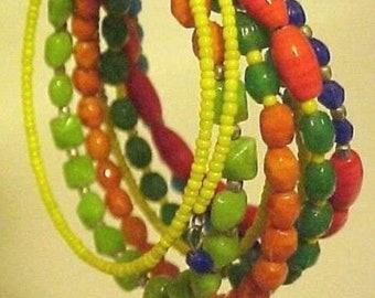 Wrap Bracelet Yellow Green Orange Navy Turquoise Glass Beads