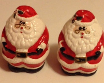 Christmas Salt & Pepper Shakers Rolie Polie Santa Claus Porcelain
