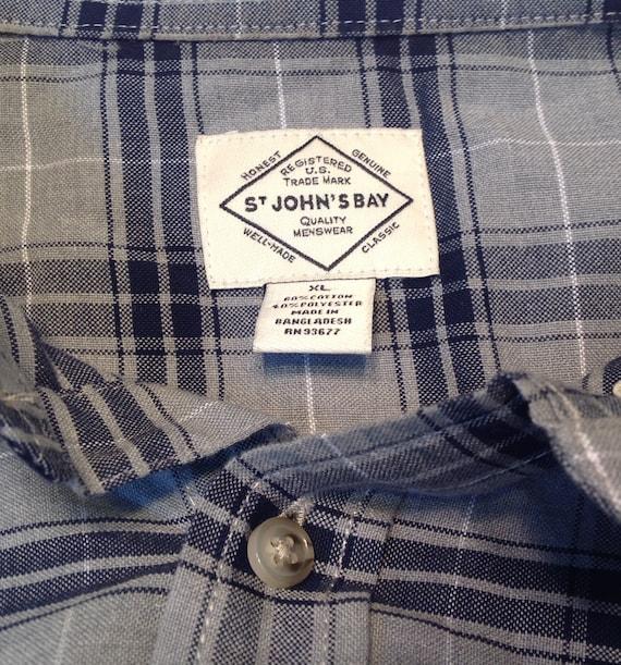 Vintage Plaid Shirt Gray Black Mens Size XL Cotton Blend Long Sleeve St Johns Bay