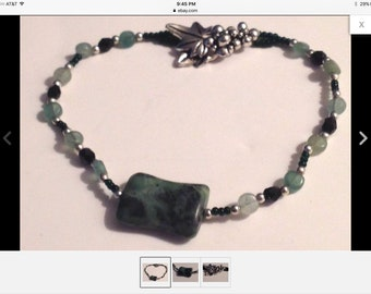 Bracelet Green Rocks Stone Glass Beads Silver Tone Hand Crafted