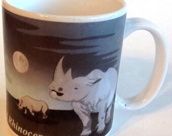 Coffee Mug Two Horned White Rhinoceros Rhino JFH Endangered Species