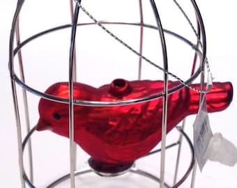 Glass Christmas Ornament Red Cardinal in Bird Cage