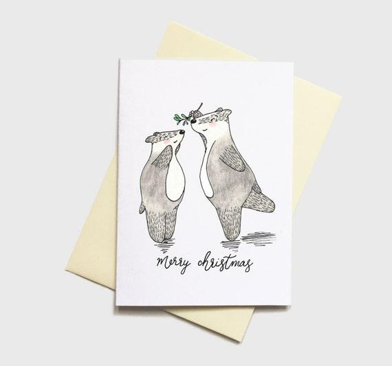 Blaireau Carte De Noel A6 Amour Mignon Couple Noel Dessin