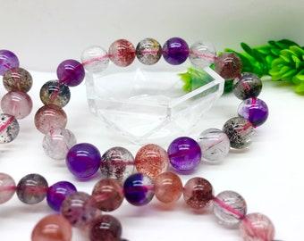 AAAAA Quality Super 7 Bracelets  Lepidocrocite Super 7  quartz Beads Bracelets