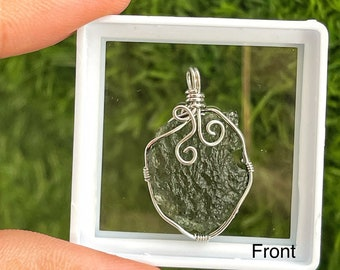 100% Natural Moldavite Pendant/ genuine Moldavite tektite / big Piece Raw Moldavite Pendent Moldavite from Czech Republic with Free Chain