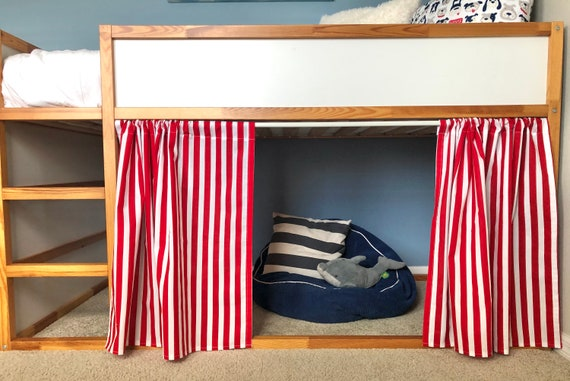 Red And White Stripe Curtains For Ikea Kura Bunk Bed Etsy