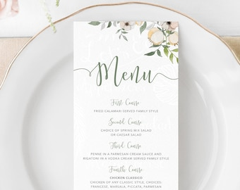 Floral Wedding Menu Wedding Menu Card Menu Template Floral Wedding Wedding Menu DIY Wedding Menu Garden Wedding Floral Menu Template