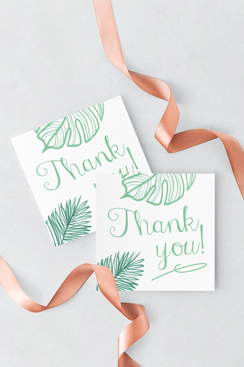 0ee46548852399 Thank You Tags Tropical Leaves Palm Leaf Wedding Favors