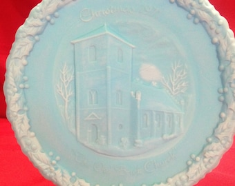 "Fenton 1971 Christmas in America No. 2 ""The Old Brick Church"", Blue Satin"