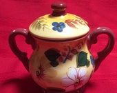 Oneida Sunset Bouquet Sugar Bowl with Notched Lid