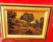 Vintage 2 Currier Ives Gold Foil Prints in Wood Frames, Intercraft Industries